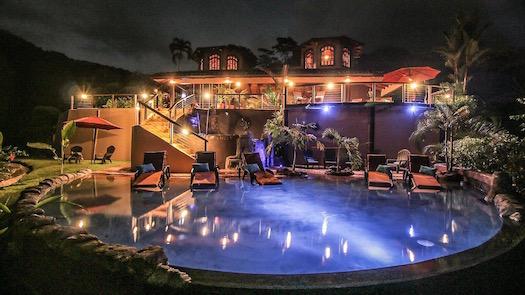 night-pool-house